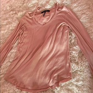 Pink long sleeve and blue shirt